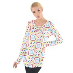 Squares Rhombus And Circles Pattern Women s Tie Up Tee