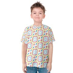 Squares rhombus and circles pattern  Kid s Cotton Tee