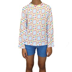 Squares rhombus and circles pattern   Kid s Long Sleeve Swimwear