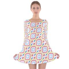Squares rhombus and circles pattern  Long Sleeve Velvet Skater Dress