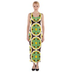 Blue yellow flowers pattern Fitted Maxi Dress
