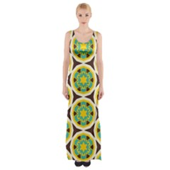 Blue yellow flowers pattern Maxi Thigh Split Dress