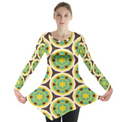Blue yellow flowers pattern Long Sleeve Tunic