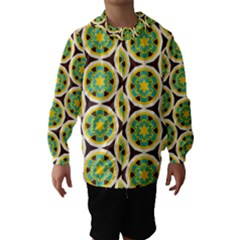 Blue Yellow Flowers Pattern Hooded Wind Breaker (kids)