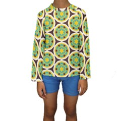 Blue yellow flowers pattern  Kid s Long Sleeve Swimwear