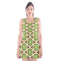 Blue Yellow Flowers Pattern Scoop Neck Skater Dress