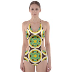 Blue yellow flowers pattern Cut-Out One Piece Swimsuit