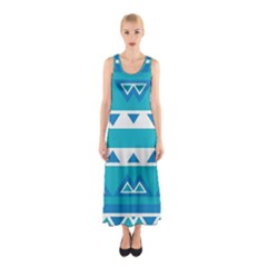 Blue triangles and stripes  Full Print Maxi Dress