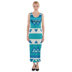 Blue triangles and stripes  Fitted Maxi Dress