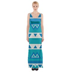 Blue triangles and stripes  Maxi Thigh Split Dress