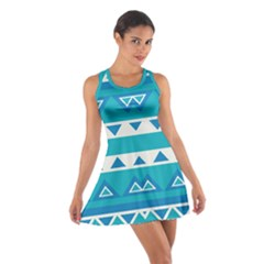 Blue triangles and stripes  Cotton Racerback Dress