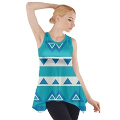 Blue Triangles And Stripes  Side Drop Tank Tunic