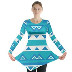 Blue Triangles And Stripes  Long Sleeve Tunic