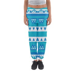 Blue Triangles And Stripes  Women s Jogger Sweatpants
