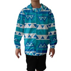 Blue triangles and stripes  Hooded Wind Breaker (Kids)
