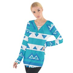 Blue triangles and stripes   Women s Tie Up Tee