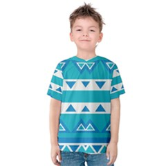 Blue triangles and stripes  Kid s Cotton Tee