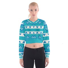 Blue Triangles And Stripes    Women s Cropped Sweatshirt