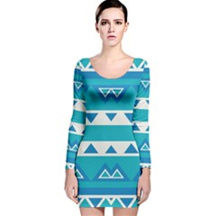 Blue triangles and stripes  Long Sleeve Velvet Bodycon Dress