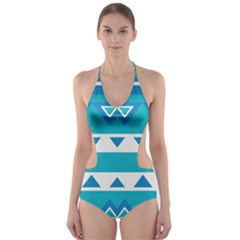 Blue triangles and stripes  Cut-Out One Piece Swimsuit