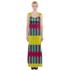 Stripes and other shapes   Maxi Thigh Split Dress