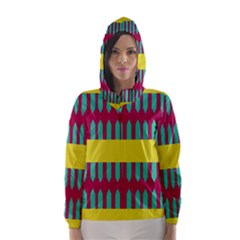 Stripes and other shapes   Hooded Wind Breaker (Women)