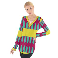 Stripes and other shapes    Women s Tie Up Tee