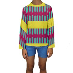 Stripes and other shapes    Kid s Long Sleeve Swimwear
