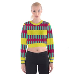 Stripes and other shapes     Women s Cropped Sweatshirt
