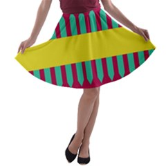 Stripes and other shapes   A-line Skater Skirt