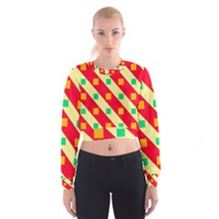Squares and stripes      Women s Cropped Sweatshirt