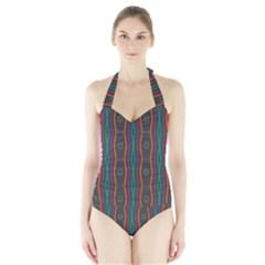 Wavy chains pattern     Women s Halter One Piece Swimsuit