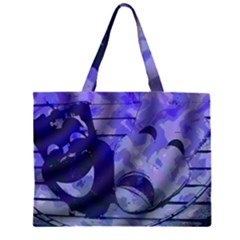 Blue Comedy Drama Theater Masks Large Tote Bag
