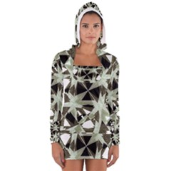 Modern Camo Print  Women s Long Sleeve Hooded T Shirt