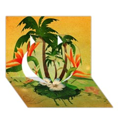 Tropical Design With Flowers And Palm Trees Heart 3d Greeting Card (7x5)