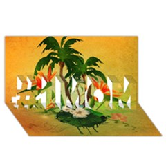 Tropical Design With Flowers And Palm Trees #1 Mom 3d Greeting Cards (8x4)