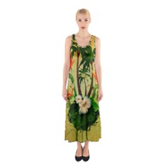 Tropical Design With Flowers And Palm Trees Full Print Maxi Dress