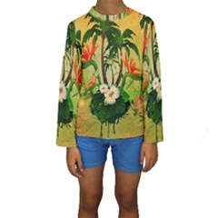 Tropical Design With Flowers And Palm Trees Kid s Long Sleeve Swimwear