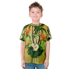Tropical Design With Flowers And Palm Trees Kid s Cotton Tee
