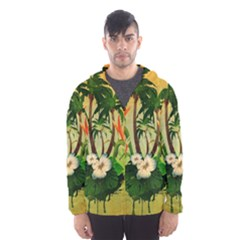 Tropical Design With Flowers And Palm Trees Hooded Wind Breaker (men)