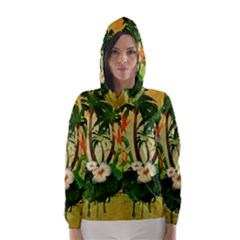 Tropical Design With Flowers And Palm Trees Hooded Wind Breaker (women)