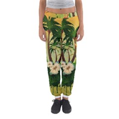 Tropical Design With Flowers And Palm Trees Women s Jogger Sweatpants