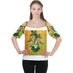 Tropical Design With Flowers And Palm Trees Women s Cutout Shoulder Tee
