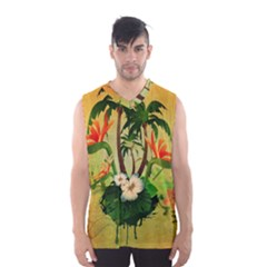 Tropical Design With Flowers And Palm Trees Men s Basketball Tank Top