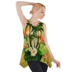 Tropical Design With Flowers And Palm Trees Side Drop Tank Tunic