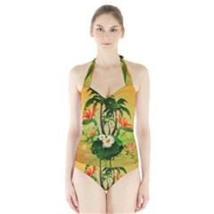 Tropical Design With Flowers And Palm Trees Women s Halter One Piece Swimsuit