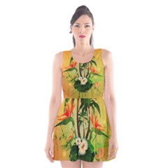 Tropical Design With Flowers And Palm Trees Scoop Neck Skater Dress