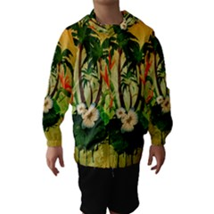Tropical Design With Flowers And Palm Trees Hooded Wind Breaker (Kids)