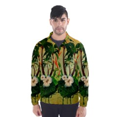 Tropical Design With Flowers And Palm Trees Wind Breaker (men)