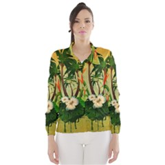 Tropical Design With Flowers And Palm Trees Wind Breaker (Women)